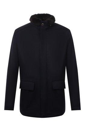 Мужская кашемировая куртка с меховой подкладкой KIRED темно-синего цвета, арт. WSALTAW681801900S | Фото 1 (Материал внешний: Кашемир, Шерсть; Кросс-КТ: Куртка; Рукава: Длинные; Длина (верхняя одежда): До середины бедра; Мужское Кросс-КТ: шерсть и кашемир, утепленные куртки; Стили: Классический)