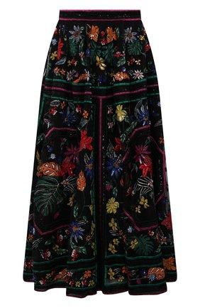 Женская юбка с отделкой пайетками ZUHAIR MURAD разноцветного цвета, арт. SKS21005/EMPA002   Фото 1 (Материал подклада: Шелк; Длина Ж (юбки, платья, шорты): Миди; Материал внешний: Синтетический материал; Стили: Романтичный; Женское Кросс-КТ: Юбка-одежда)