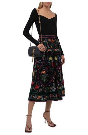 Женская юбка с отделкой пайетками ZUHAIR MURAD разноцветного цвета, арт. SKS21005/EMPA002   Фото 2 (Материал подклада: Шелк; Длина Ж (юбки, платья, шорты): Миди; Материал внешний: Синтетический материал; Стили: Романтичный; Женское Кросс-КТ: Юбка-одежда)