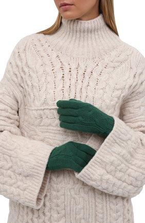 Женские кашемировые перчатки LORO PIANA изумрудного цвета, арт. FAI8570 | Фото 2 (Материал: Шерсть, Кашемир)