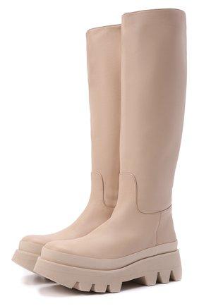 Женские кожаные сапоги ida PALOMA BARCELO светло-бежевого цвета, арт. IDA NAPAS0FT | Фото 1