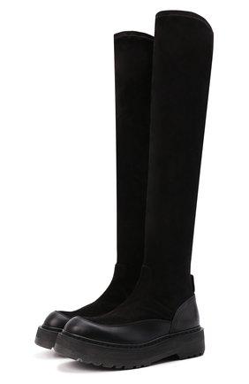 Женские комбинированные ботфорты elba PREMIATA черного цвета, арт. M6093/ELBA   Фото 1 (Каблук высота: Низкий; Материал внутренний: Натуральная кожа; Подошва: Платформа; Высота голенища: Высокие; Каблук тип: Устойчивый)