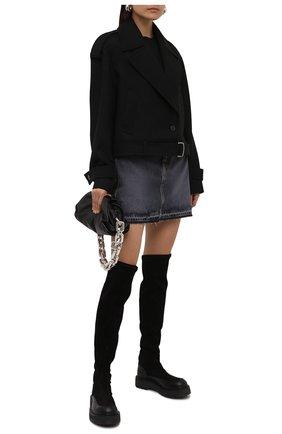 Женские комбинированные ботфорты elba PREMIATA черного цвета, арт. M6093/ELBA   Фото 2 (Каблук высота: Низкий; Материал внутренний: Натуральная кожа; Подошва: Платформа; Высота голенища: Высокие; Каблук тип: Устойчивый)