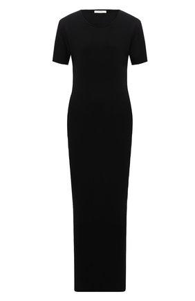 Женское платье THE ROW черного цвета, арт. 5752K395 | Фото 1 (Материал внешний: Растительное волокно; Длина Ж (юбки, платья, шорты): Миди; Рукава: Короткие; Стили: Минимализм; Случай: Повседневный; Женское Кросс-КТ: Платье-одежда)