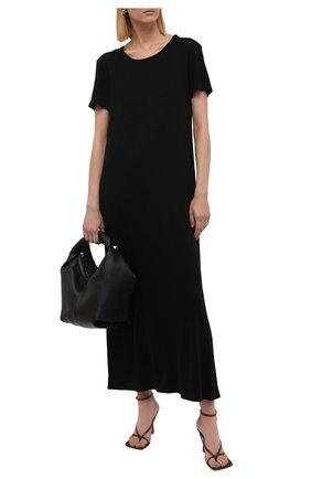 Женское платье THE ROW черного цвета, арт. 5752K395 | Фото 2 (Материал внешний: Растительное волокно; Длина Ж (юбки, платья, шорты): Миди; Рукава: Короткие; Стили: Минимализм; Случай: Повседневный; Женское Кросс-КТ: Платье-одежда)