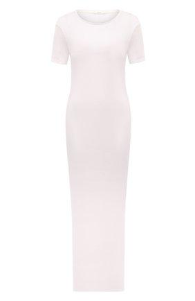 Женское платье THE ROW кремвого цвета, арт. 5752K395 | Фото 1 (Материал внешний: Растительное волокно; Рукава: Короткие; Длина Ж (юбки, платья, шорты): Миди; Стили: Минимализм; Случай: Повседневный; Женское Кросс-КТ: Платье-одежда)