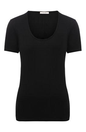 Женская футболка THE ROW черного цвета, арт. W585K395 | Фото 1 (Материал внешний: Растительное волокно; Длина (для топов): Стандартные; Рукава: Короткие; Стили: Минимализм; Принт: Без принта; Женское Кросс-КТ: Футболка-одежда)