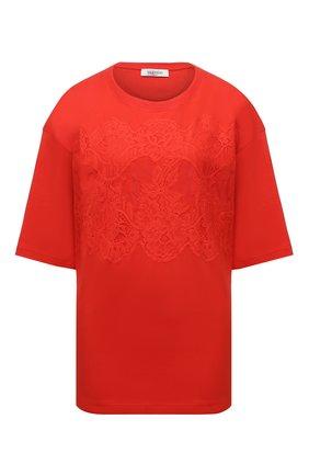 Женская хлопковая футболка VALENTINO оранжевого цвета, арт. WB3MG14W6K7   Фото 1 (Материал внешний: Хлопок; Стили: Спорт-шик; Принт: Без принта; Женское Кросс-КТ: Футболка-одежда; Рукава: Короткие, 3/4; Длина (для топов): Стандартные)