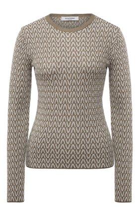 Женский пуловер из вискозы VALENTINO золотого цвета, арт. WB3KC25B6MM   Фото 1 (Материал внешний: Вискоза; Длина (для топов): Стандартные; Рукава: Длинные; Стили: Кэжуэл; Женское Кросс-КТ: Пуловер-одежда)