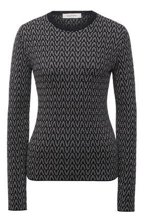 Женский пуловер из вискозы VALENTINO черно-белого цвета, арт. WB3KC25B6MM   Фото 1 (Рукава: Длинные; Материал внешний: Вискоза; Длина (для топов): Стандартные; Стили: Кэжуэл; Женское Кросс-КТ: Пуловер-одежда)