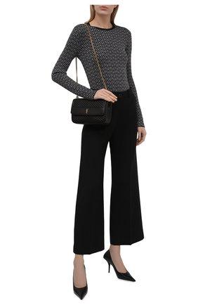 Женский пуловер из вискозы VALENTINO черно-белого цвета, арт. WB3KC25B6MM   Фото 2 (Рукава: Длинные; Материал внешний: Вискоза; Длина (для топов): Стандартные; Стили: Кэжуэл; Женское Кросс-КТ: Пуловер-одежда)