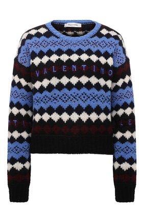 Женский шерстяной свитер VALENTINO голубого цвета, арт. WB3KC24T6LU   Фото 1 (Длина (для топов): Стандартные; Рукава: Длинные; Материал внешний: Шерсть; Стили: Кэжуэл; Женское Кросс-КТ: Свитер-одежда)