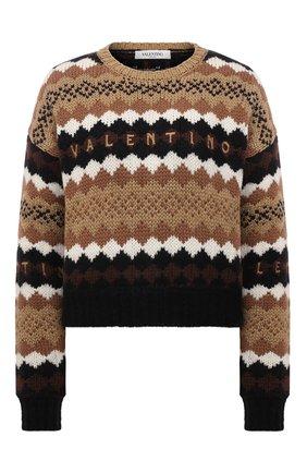 Женский шерстяной свитер VALENTINO темно-бежевого цвета, арт. WB3KC24T6LU | Фото 1 (Длина (для топов): Стандартные; Материал внешний: Шерсть; Рукава: Длинные; Стили: Кэжуэл; Женское Кросс-КТ: Свитер-одежда)