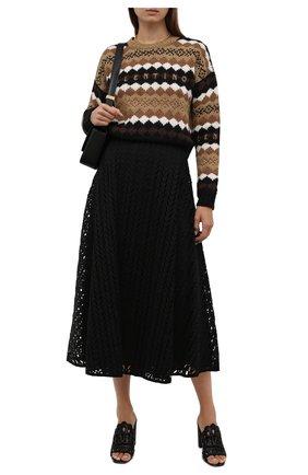 Женский шерстяной свитер VALENTINO темно-бежевого цвета, арт. WB3KC24T6LU | Фото 2 (Длина (для топов): Стандартные; Материал внешний: Шерсть; Рукава: Длинные; Стили: Кэжуэл; Женское Кросс-КТ: Свитер-одежда)