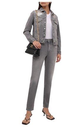 Женская джинсовая куртка OFF-WHITE серого цвета, арт. 0WYE012F21DEN002 | Фото 2 (Материал внешний: Хлопок; Рукава: Длинные; Длина (верхняя одежда): Короткие; Стили: Спорт-шик; Кросс-КТ: Деним)