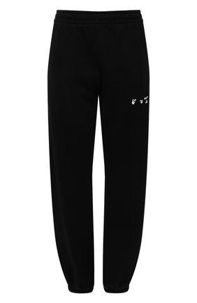 Женские хлопковые джоггеры OFF-WHITE черного цвета, арт. 0WCH006F21JER001 | Фото 1 (Длина (брюки, джинсы): Стандартные; Материал внешний: Хлопок; Стили: Спорт-шик; Женское Кросс-КТ: Джоггеры - брюки; Силуэт Ж (брюки и джинсы): Джоггеры)