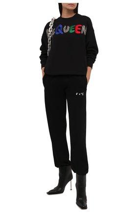 Женские хлопковые джоггеры OFF-WHITE черного цвета, арт. 0WCH006F21JER001 | Фото 2 (Длина (брюки, джинсы): Стандартные; Материал внешний: Хлопок; Стили: Спорт-шик; Женское Кросс-КТ: Джоггеры - брюки; Силуэт Ж (брюки и джинсы): Джоггеры)