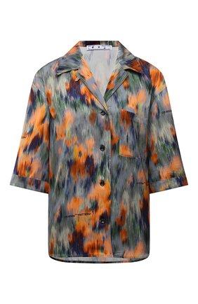 Женская рубашка из вискозы OFF-WHITE разноцветного цвета, арт. 0WGA071F21FAB002 | Фото 1 (Длина (для топов): Стандартные; Материал внешний: Вискоза; Стили: Романтичный; Принт: С принтом; Женское Кросс-КТ: Рубашка-одежда; Рукава: Короткие)
