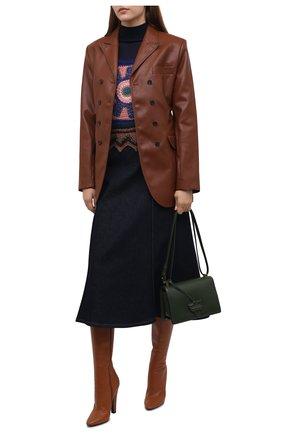 Женский шерстяной жилет SAINT LAURENT синего цвета, арт. 660866/Y75BG | Фото 2 (Длина (верхняя одежда): Короткие; Материал внешний: Шерсть; Стили: Бохо; Кросс-КТ: Трикотаж; Женское Кросс-КТ: Жилет-одежда)