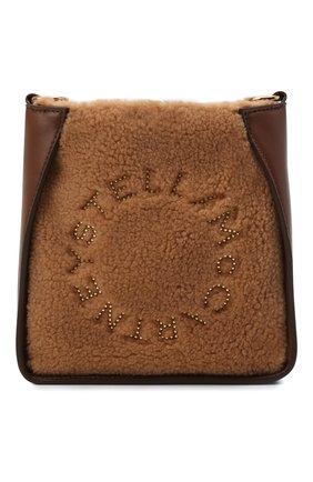 Женская сумка stella logo small STELLA MCCARTNEY светло-коричневого цвета, арт. 700265/W8837 | Фото 1 (Ремень/цепочка: На ремешке; Материал: Текстиль; Размер: small; Сумки-технические: Сумки через плечо)
