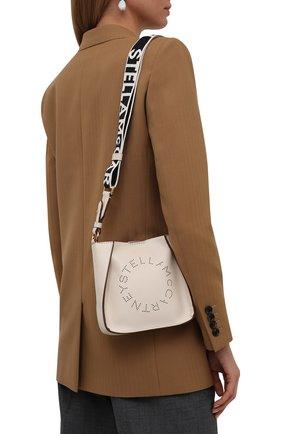 Женская сумка stella logo small STELLA MCCARTNEY кремвого цвета, арт. 700265/W8542 | Фото 2 (Материал: Экокожа, Текстиль; Ремень/цепочка: На ремешке; Размер: small; Сумки-технические: Сумки через плечо)