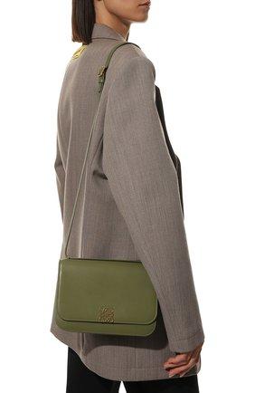 Женская сумка goya LOEWE зеленого цвета, арт. A896N01X03   Фото 2 (Материал: Натуральная кожа; Сумки-технические: Сумки через плечо; Размер: medium, small; Ремень/цепочка: На ремешке)