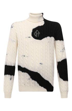 Мужской шерстяной свитер OFF-WHITE белого цвета, арт. 0MHF033F21KNI002 | Фото 1 (Материал внешний: Шерсть; Длина (для топов): Стандартные; Рукава: Длинные; Мужское Кросс-КТ: Свитер-одежда; Принт: С принтом; Стили: Гранж)