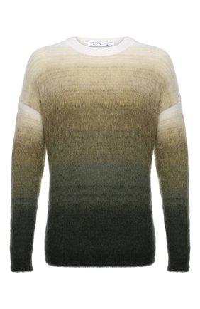 Мужской свитер OFF-WHITE хаки цвета, арт. 0MHE098F21KNI001 | Фото 1 (Материал внешний: Шерсть, Синтетический материал; Мужское Кросс-КТ: Свитер-одежда; Принт: С принтом; Стили: Гранж; Длина (для топов): Стандартные; Рукава: Длинные)