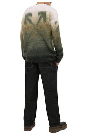 Мужской свитер OFF-WHITE хаки цвета, арт. 0MHE098F21KNI001 | Фото 2 (Материал внешний: Шерсть, Синтетический материал; Мужское Кросс-КТ: Свитер-одежда; Принт: С принтом; Стили: Гранж; Длина (для топов): Стандартные; Рукава: Длинные)