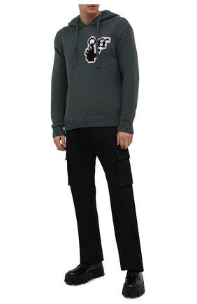 Мужской худи OFF-WHITE хаки цвета, арт. 0MHA128F21KNI001 | Фото 2 (Материал внешний: Синтетический материал, Шерсть; Длина (для топов): Стандартные; Рукава: Длинные; Мужское Кросс-КТ: Худи-одежда; Принт: С принтом; Стили: Гранж)