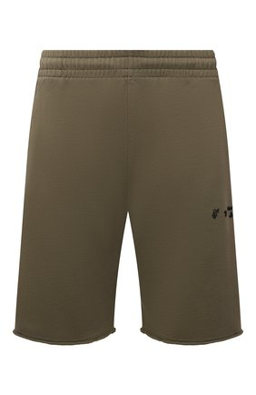 Мужские хлопковые шорты OFF-WHITE хаки цвета, арт. 0MCI006F21FLE001 | Фото 1 (Материал внешний: Хлопок; Длина Шорты М: До колена; Кросс-КТ: Трикотаж; Стили: Спорт-шик; Принт: Без принта)