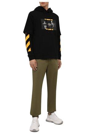 Мужские хлопковые джоггеры OFF-WHITE хаки цвета, арт. 0MCG029F21FAB001 | Фото 2 (Материал внешний: Хлопок; Силуэт М (брюки): Джоггеры; Стили: Милитари; Длина (брюки, джинсы): Стандартные)