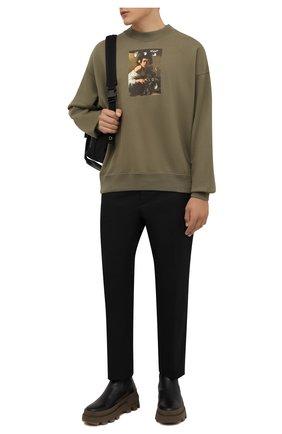 Мужской хлопковый свитшот OFF-WHITE хаки цвета, арт. 0MBA054F21FLE010 | Фото 2 (Материал внешний: Хлопок; Длина (для топов): Стандартные; Рукава: Длинные; Мужское Кросс-КТ: свитшот-одежда; Принт: С принтом; Стили: Гранж)