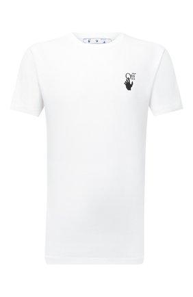 Мужская хлопковая футболка OFF-WHITE белого цвета, арт. 0MAA027F21JER011 | Фото 1 (Рукава: Короткие; Материал внешний: Хлопок; Длина (для топов): Стандартные; Принт: С принтом)