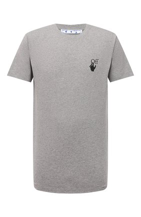 Мужская хлопковая футболка OFF-WHITE серого цвета, арт. 0MAA027F21JER005 | Фото 1 (Материал внешний: Хлопок; Принт: С принтом; Рукава: Короткие; Длина (для топов): Стандартные)