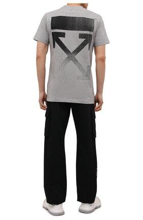 Мужская хлопковая футболка OFF-WHITE серого цвета, арт. 0MAA027F21JER005 | Фото 2 (Материал внешний: Хлопок; Принт: С принтом; Рукава: Короткие; Длина (для топов): Стандартные)