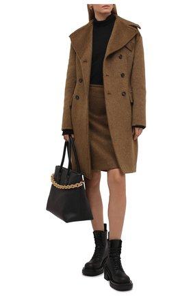 Женские кожаные ботинки bv lug BOTTEGA VENETA черного цвета, арт. 667145/VBS50 | Фото 2 (Подошва: Платформа; Каблук высота: Средний; Материал внутренний: Натуральная кожа; Каблук тип: Устойчивый; Женское Кросс-КТ: Военные ботинки)