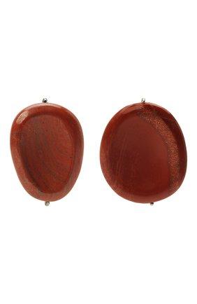 Женские клипсы JIL SANDER коричневого цвета, арт. JSPT837205/WTS79016 | Фото 1 (Женское Кросс-КТ: Клипсы-серьги; Материал: Металл)