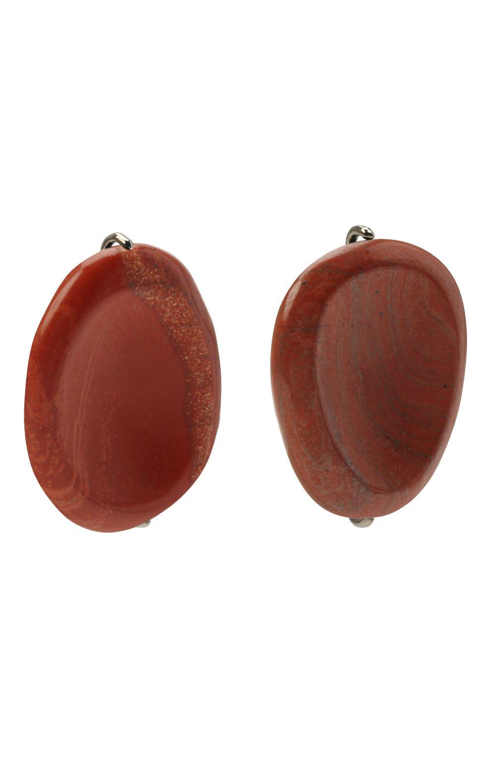Женские клипсы JIL SANDER коричневого цвета, арт. JSPT837205/WTS79016 | Фото 3 (Женское Кросс-КТ: Клипсы-серьги; Материал: Металл)