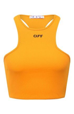 Женский бра-топ OFF-WHITE оранжевого цвета, арт. 0WAD086F21JER002 | Фото 1 (Материал внешний: Синтетический материал; Длина (для топов): Укороченные; Стили: Спорт-шик)