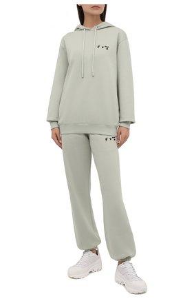 Женский хлопковое худи OFF-WHITE светло-зеленого цвета, арт. 0WBB035F21JER005 | Фото 2 (Рукава: Длинные; Длина (для топов): Стандартные; Материал внешний: Хлопок; Стили: Спорт-шик; Женское Кросс-КТ: Худи-одежда)