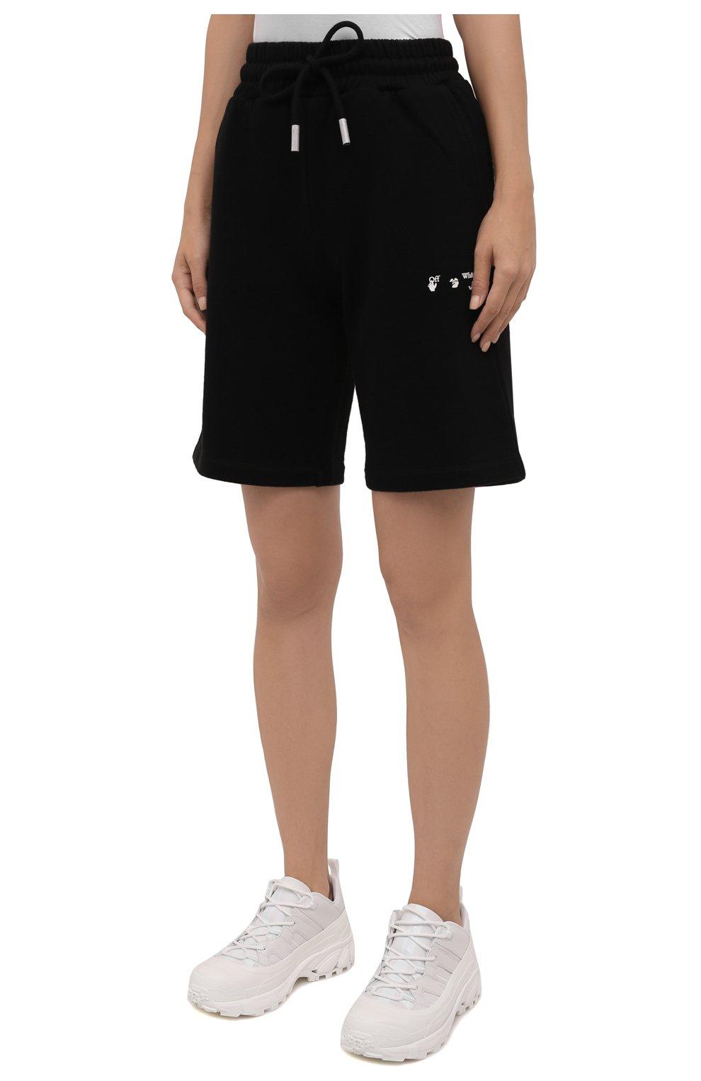 Женские хлопковые шорты OFF-WHITE черного цвета, арт. 0WCI001F21JER001 | Фото 3 (Женское Кросс-КТ: Шорты-одежда, Шорты-спорт; Длина Ж (юбки, платья, шорты): Мини; Кросс-КТ: Трикотаж; Материал внешний: Хлопок; Стили: Спорт-шик)