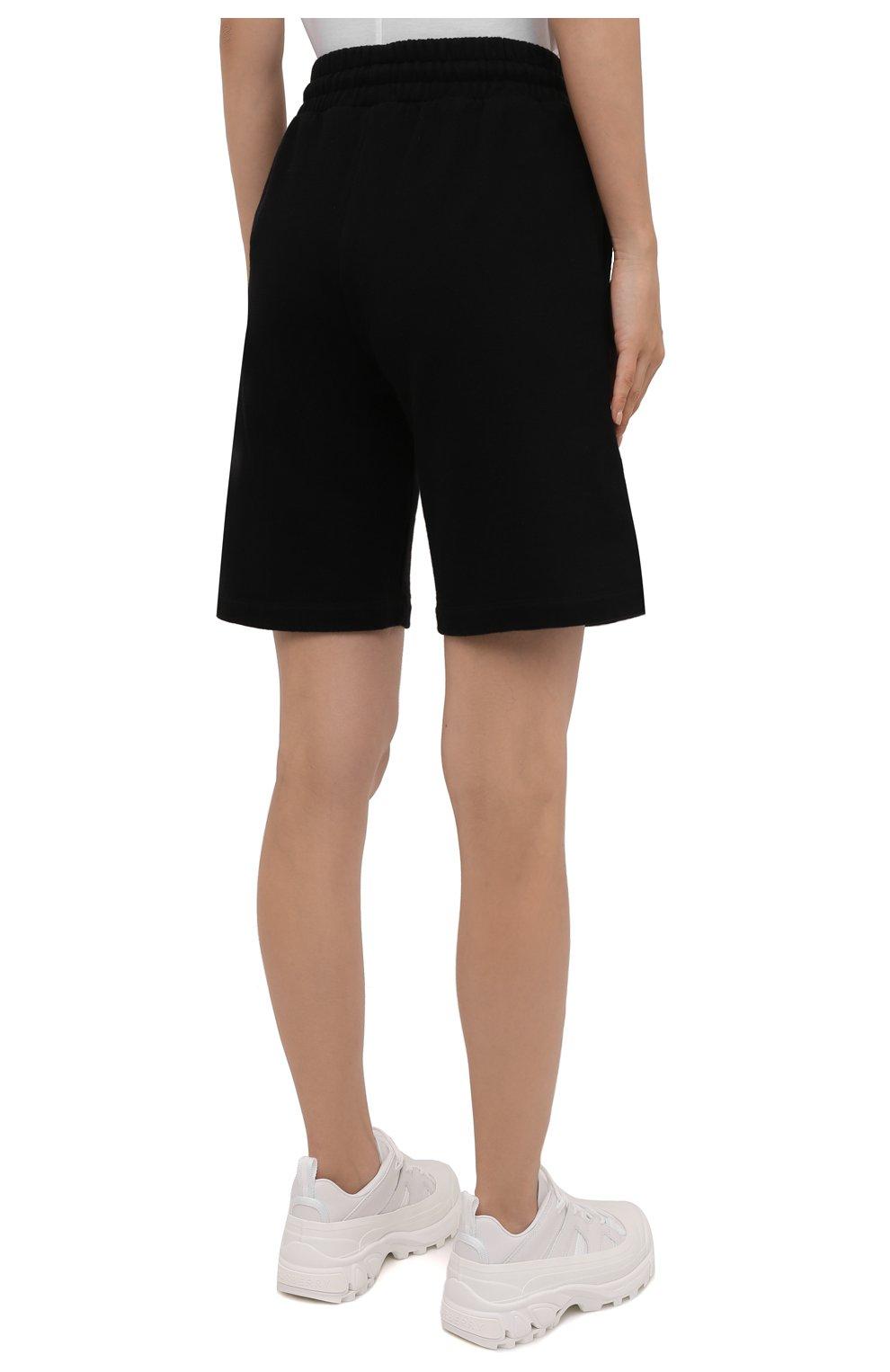 Женские хлопковые шорты OFF-WHITE черного цвета, арт. 0WCI001F21JER001 | Фото 4 (Женское Кросс-КТ: Шорты-одежда, Шорты-спорт; Длина Ж (юбки, платья, шорты): Мини; Кросс-КТ: Трикотаж; Материал внешний: Хлопок; Стили: Спорт-шик)