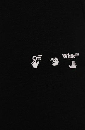 Женские хлопковые шорты OFF-WHITE черного цвета, арт. 0WCI001F21JER001 | Фото 5 (Женское Кросс-КТ: Шорты-одежда, Шорты-спорт; Длина Ж (юбки, платья, шорты): Мини; Кросс-КТ: Трикотаж; Материал внешний: Хлопок; Стили: Спорт-шик)