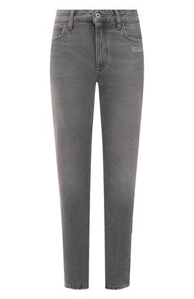 Женские джинсы OFF-WHITE серого цвета, арт. 0WYA019F21DEN003 | Фото 1 (Длина (брюки, джинсы): Стандартные; Материал внешний: Хлопок; Стили: Кэжуэл; Кросс-КТ: Деним; Силуэт Ж (брюки и джинсы): Слим)