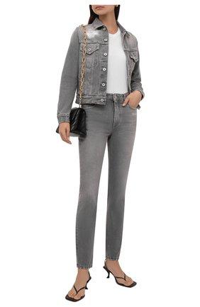 Женские джинсы OFF-WHITE серого цвета, арт. 0WYA019F21DEN003 | Фото 2 (Длина (брюки, джинсы): Стандартные; Материал внешний: Хлопок; Стили: Кэжуэл; Кросс-КТ: Деним; Силуэт Ж (брюки и джинсы): Слим)