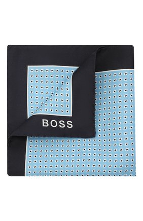 Мужской шелковый платок BOSS голубого цвета, арт. 50461461 | Фото 1 (Материал: Шелк, Текстиль)