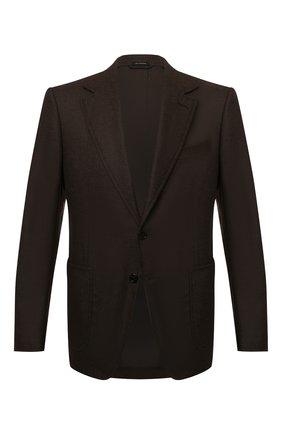 Мужской пиджак из шерсти и кашемира TOM FORD коричневого цвета, арт. 228R02/10SP40 | Фото 1 (Материал подклада: Хлопок, Купро; Материал внешний: Шерсть; Случай: Коктейльный; Пиджаки М: Приталенный; 1-2-бортные: Однобортные; Рукава: Длинные; Длина (для топов): Стандартные)