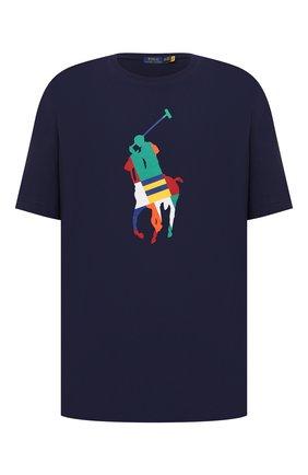 Мужская хлопковая футболка POLO RALPH LAUREN темно-синего цвета, арт. 711843377/PRL BS   Фото 1 (Материал внешний: Хлопок; Длина (для топов): Удлиненные; Принт: С принтом; Рукава: Короткие; Стили: Кэжуэл; Big sizes: Big Sizes)