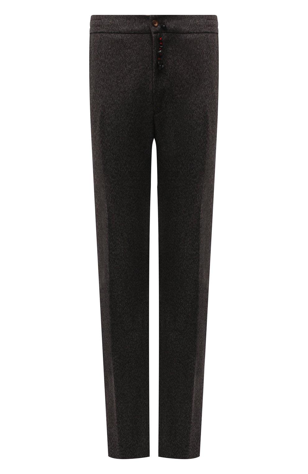 Мужские брюки из кашемира и шерсти MARCO PESCAROLO коричневого цвета, арт. CHIAIAM/ZIP+RIS/4458 | Фото 1 (Big sizes: Big Sizes; Материал внешний: Шерсть, Кашемир; Длина (брюки, джинсы): Стандартные; Случай: Повседневный; Стили: Кэжуэл)